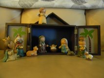 12 Piece Ceramic and Wood Nativity Set in Schaumburg, Illinois