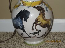Vintage Italian Porcelain Lamp with Hand Painted Horses and Signed in Chicago, Illinois