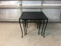 Three Vintage Woodard Wrought Iron  Stackable Nesting Tables in Beaufort, South Carolina