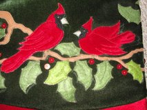 """HOLIDAY SPARKLE """"RED ROBIN"""" CHRISTMAS TREE SKIRT 48 inches DEEP GREEN in Camp Lejeune, North Carolina"""
