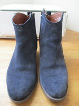 Blue suede ankle boots in Lakenheath, UK