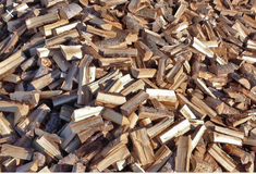 Split seasoning oak and hickory firewood in Beaufort, South Carolina