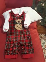 Christmas Bear Red Plaid 0-3 Mos Outfit in Spring, Texas
