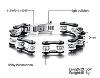 White & Black Stainless Steel, Crystal Rhinestone,  Motorcycle Chain Bracelet For Men or Women in Alamogordo, New Mexico