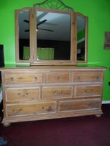 Wooden Dresser w/ Tri-Mirror & built-in Jewelry Box in Cleveland, Texas