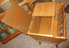 Dough box-end table with magazine rack. in Alamogordo, New Mexico