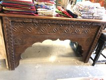 Antique Indian Doors TeakWood Mantel Arched Hall Table Hand Carved Media Console in Birmingham, Alabama