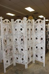 Year End Clearance sale 4Panel Whitewashed Rustic Wood Iron Accent Screen/Room Divider in Birmingham, Alabama