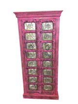 Rustic Furniture Mogulinterior Antique Armoire Brass Carved PINK Patina Storage Cabinet Moroccan... in Birmingham, Alabama