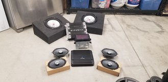 Car audio package includes double din stereo, 2 amps, 2 subs with box enclosures, and 4 6x8 spea... in Camp Pendleton, California