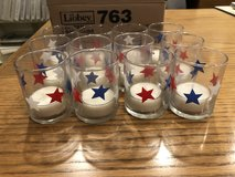 12 Patriotic Star Glass Votives with Tea Light Candles in Naperville, Illinois