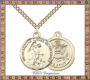 14kt Gold Filled Guardian Angel Army Pendant - Choice of 14k Gold Filled Curb Chain Length in Fort Campbell, Kentucky