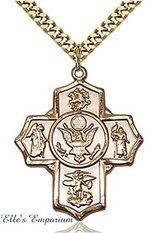 14K Gold Filled U.S. Army 5 Way Cross Unisex Medal with 24 inch Curb Chain in Fort Campbell, Kentucky
