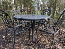 : ) Cast Aluminum Patio Set. includes Cushions. in Plainfield, Illinois