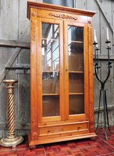 Solid Red Pine China Cabinet Display Case Bookcase in Ramstein, Germany