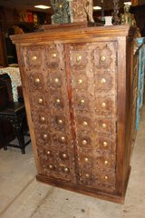 MOUNTAIN CABINS Antique Doors Indian Armoire Cabinet Brass Medallions Old Teak in Birmingham, Alabama