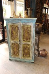 Country Charm Armoire Cabinet Antique Chakra JAIPUR Yellow Blue Carving cHEST in Birmingham, Alabama