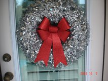 Red Bow Silver Wreath in Kingwood, Texas