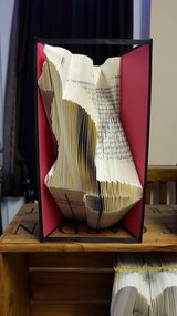 Folded Book Art 'Cat' in Lakenheath, UK