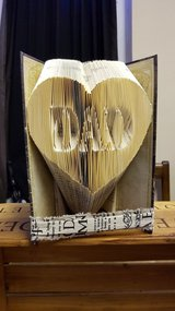 Folded Book Art 'DAD in Heart' in Lakenheath, UK