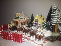 Dept 56 Sled & Reindeer plus Village in Eglin AFB, Florida