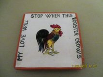 "Antique Italian Porcelain ""MY LOVE WILL STOP WHEN THIS ROOSTER CROWS Trinket Tray in Chicago, Illinois"