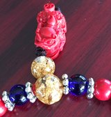 New Red Bamboo Coral Shisa Necklace/Bracelet in Okinawa, Japan