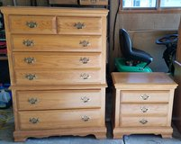 Solid Oak Dresser and Night Stand in Shorewood, Illinois