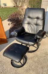 Black leather recliner chair w/ottoman in Naperville, Illinois