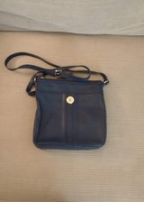 TOMMY HILFIGER PEBBLED LEATHER NAVY BLUE HANDBAG in Naperville, Illinois