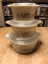 Pyrex Forest Fancies Mushroom Bowls with Lids Lot Of 3 in St. Charles, Illinois