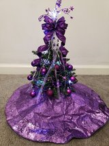 Nightstand Christmas Tree with Purple Ornaments in Fort Campbell, Kentucky