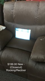 Brown Rocking/Recliner (New) Closeout in Fort Leonard Wood, Missouri