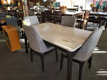 White Marble Table w/4 Gray Fabric Chairs in Fort Leonard Wood, Missouri