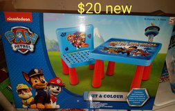 Paw patrol table with 1 chair. NEW in Travis AFB, California