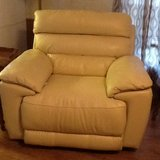 Cream colored leather electric recliner in Pleasant View, Tennessee