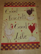 """Good Friends, Good Life"" Chickens Front Porch Banner Flag in Chicago, Illinois"