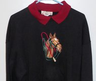 Horse in Bridle Embroidered Women's Black Sweatshirt with Cranberry Mock Collar in Chicago, Illinois