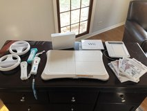Wii Console + Balance Board + uDraw + 3 controllers + 2 wheels + 6 games in Plainfield, Illinois