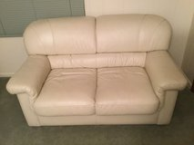 White two seat leather Couch in Oswego, Illinois