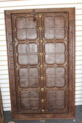Antique Indian Terrace Door Handcarved Iron straps Brown Rustic Jharokha Windows in Birmingham, Alabama