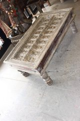 Antique Chai Coffee Table Scandinavian Gray Paint Teak Wood Reclaimed Door Table in Birmingham, Alabama