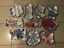 Large Lot of 16 Wilton Shaped Cake Baking Pans Mostly Kids in Travis AFB, California