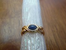 Blue Iris Avon Vintage Gold Tone Ring  With Sapphire Blue Stones - Size 7 in Byron, Georgia