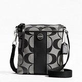 SIGNATURE STRIPE SWINGPACK (COACH F48806) SILVER/BLACK/WHITE/BLACK with tag in San Antonio, Texas