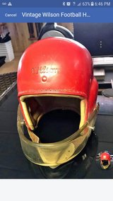 1954 football helmet Wilson Man Cave Hinsdale Jr.high in Tinley Park, Illinois