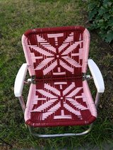 Vtg Aluminum folding chair macrame pink in Vacaville, California