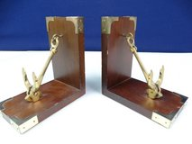 Wood and Brass Pivoting Ship's Anchor Bookends in Pearland, Texas