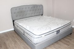 Contemporary King size Tufted Frame- Serta perfect sleeper mattress in Spring, Texas