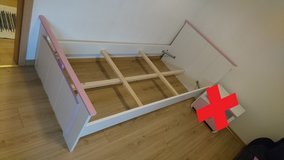 Kids twin bed, white/pink in Wiesbaden, GE